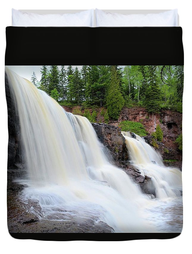 Nature Duvet Cover featuring the photograph Upper Gooseberry Falls by Bonfire Photography