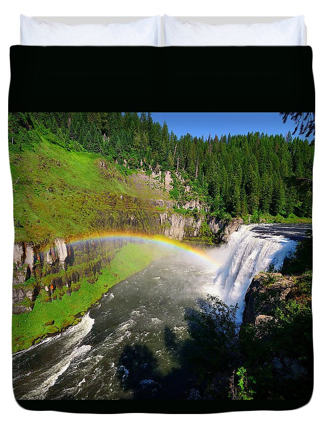Mesa Falls Duvet Cover featuring the photograph Upper Mesa Falls by Greg Norrell