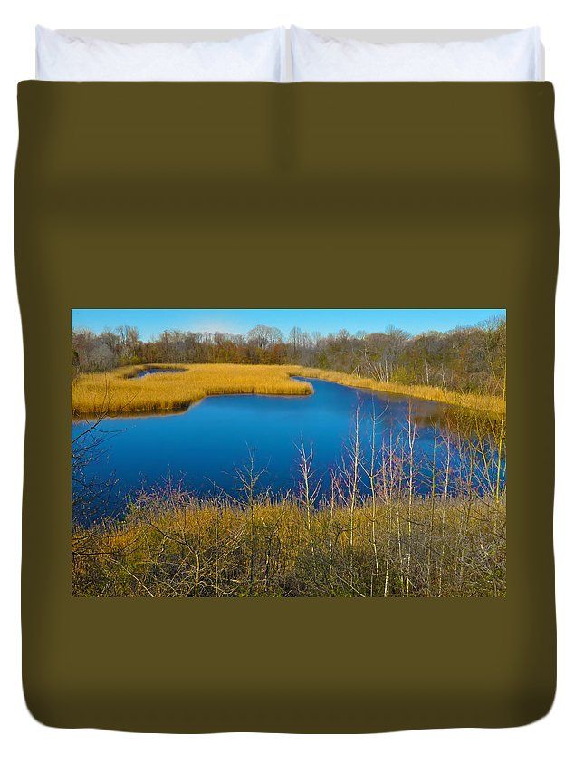 Philadelphia Duvet Cover featuring the photograph Upper Roxborough Reservoir by Bill Cannon