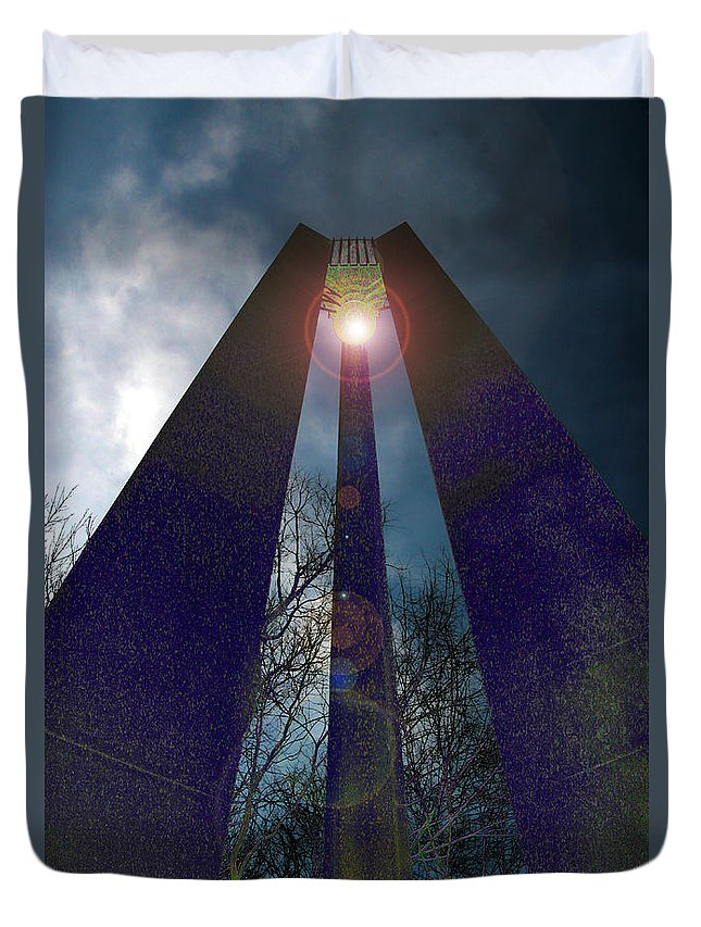 Tower Duvet Cover featuring the photograph Uprightly by Mykel Davis