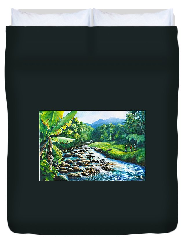 Chris Cox Duvet Cover featuring the painting Upriver by Christopher Cox