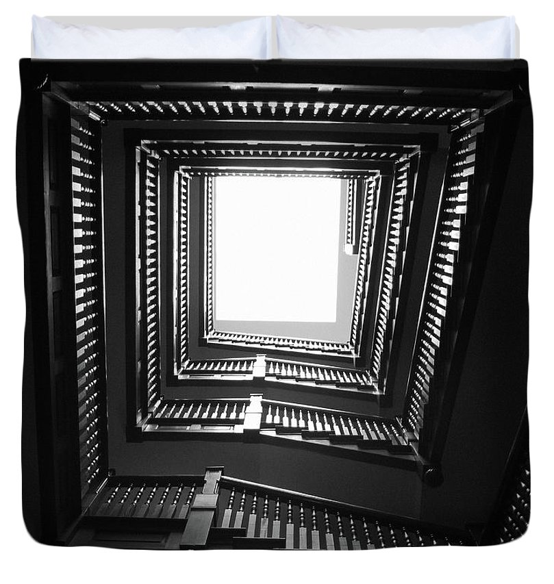 Stairs Duvet Cover featuring the photograph Upstairs- Black And White Photography By Linda Woods by Linda Woods