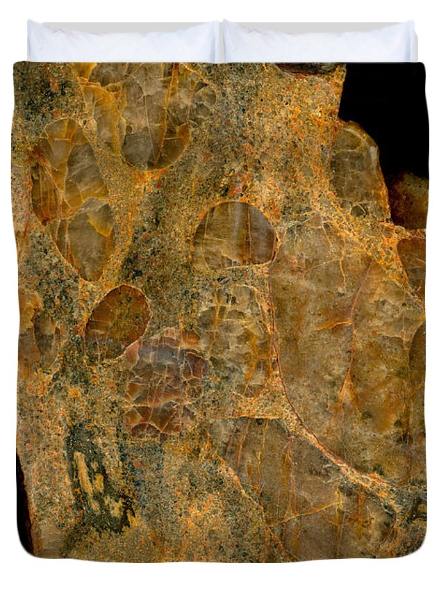 Mineral Duvet Cover featuring the photograph Uranium Ore Conglomerate by Ted Kinsman