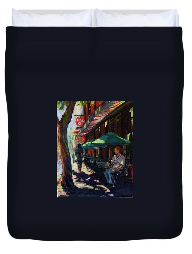 Urban Duvet Cover featuring the painting Urban Afternoon by Margaret Plumb