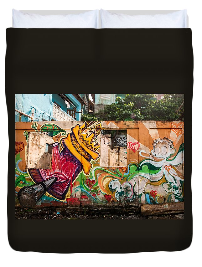 Graffiti Duvet Cover featuring the photograph Urban Art 1 by Jenifer Kim