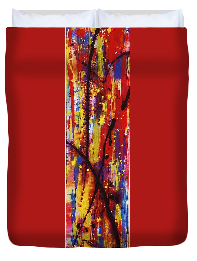 Abstract Duvet Cover featuring the painting Urban Carnival by Lauren Luna