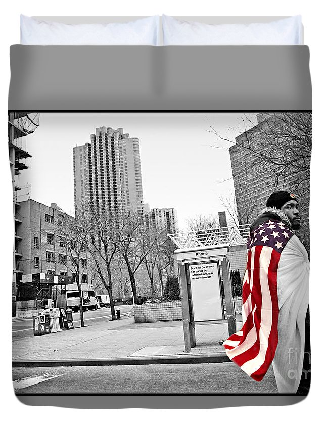 Man Duvet Cover featuring the photograph Urban Flag Man by Madeline Ellis
