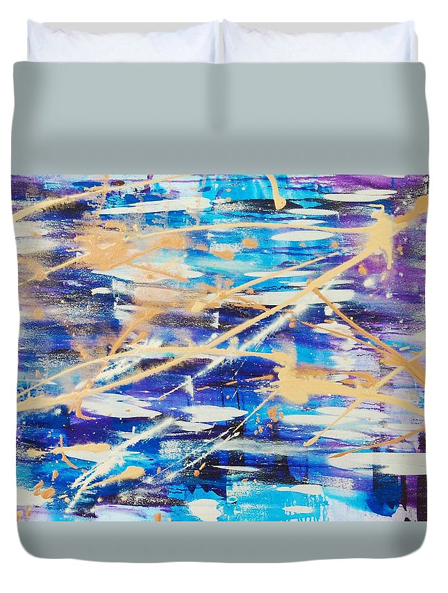 Abstract Duvet Cover featuring the painting Urban Footprint by Lauren Luna