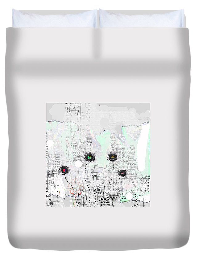 City Garden Duvet Cover featuring the digital art Urban Garden 2 by Andy Mercer