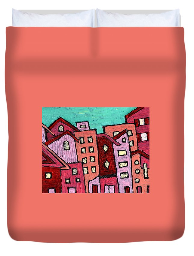City Scene Duvet Cover featuring the painting Urban Heat by Wayne Potrafka