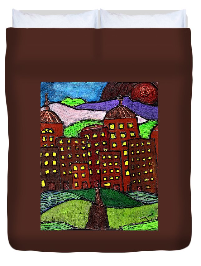 City Scape Duvet Cover featuring the painting Urban Legand by Wayne Potrafka