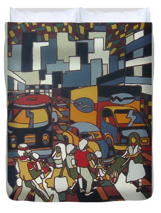 City Duvet Cover featuring the painting Urban Music I V by Muniz Filho