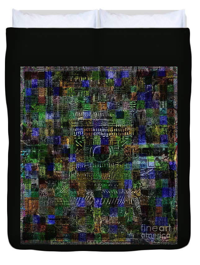 Blue Abstract Duvet Cover featuring the digital art Urban Mystic by Andy Mercer