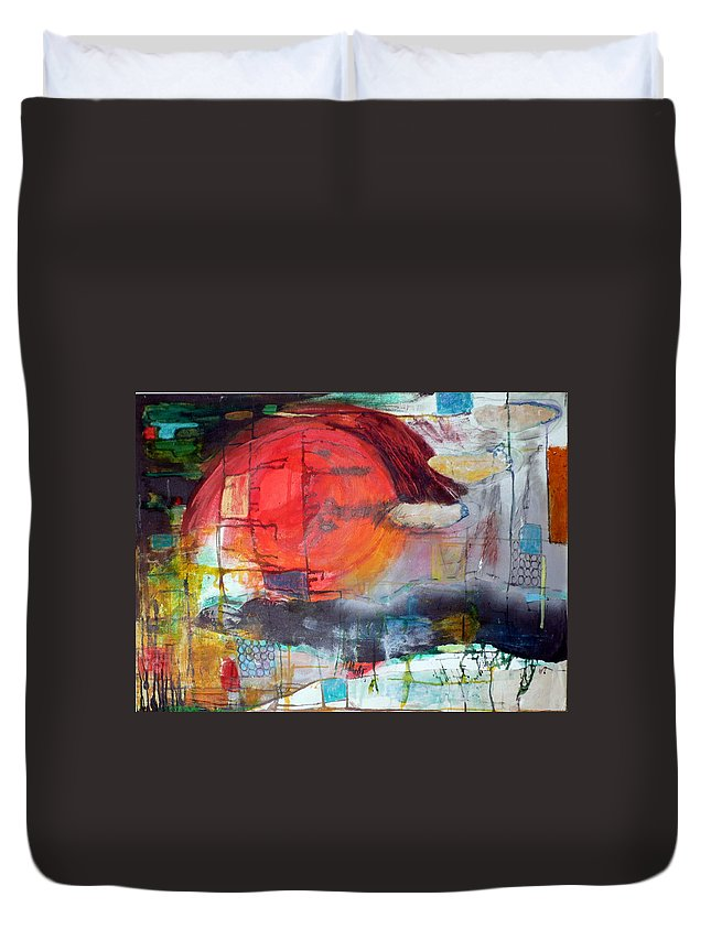 Abstract Landscape Duvet Cover featuring the mixed media Urban Myth by Jane Clatworthy