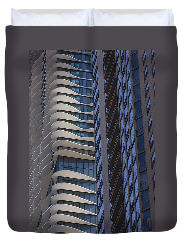 Chicago City Wind Windy Sky Skyscraper Window Concrete Glass Tall High Urban Metro Duvet Cover featuring the photograph Urban Patters by Andrei Shliakhau