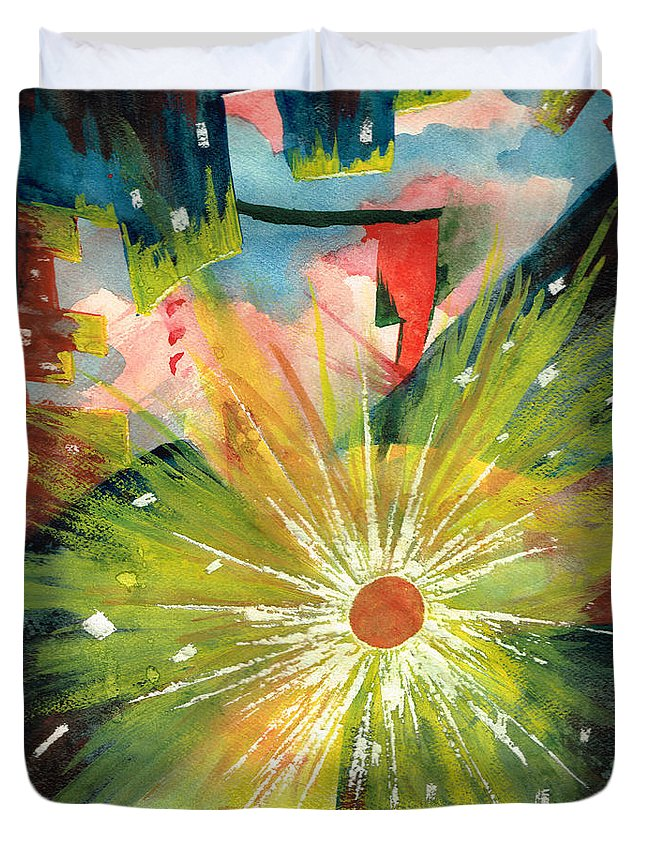 Downtown Duvet Cover featuring the painting Urban Sunburst by Andrew Gillette