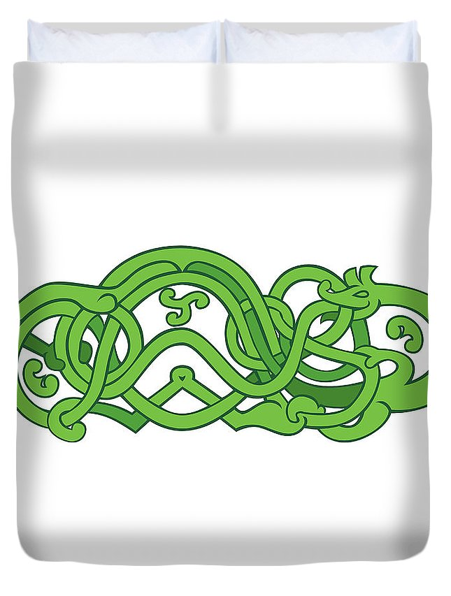 Urnes Snake Duvet Cover featuring the digital art Urnes Snake Extended Stomach Retro by Aloysius Patrimonio