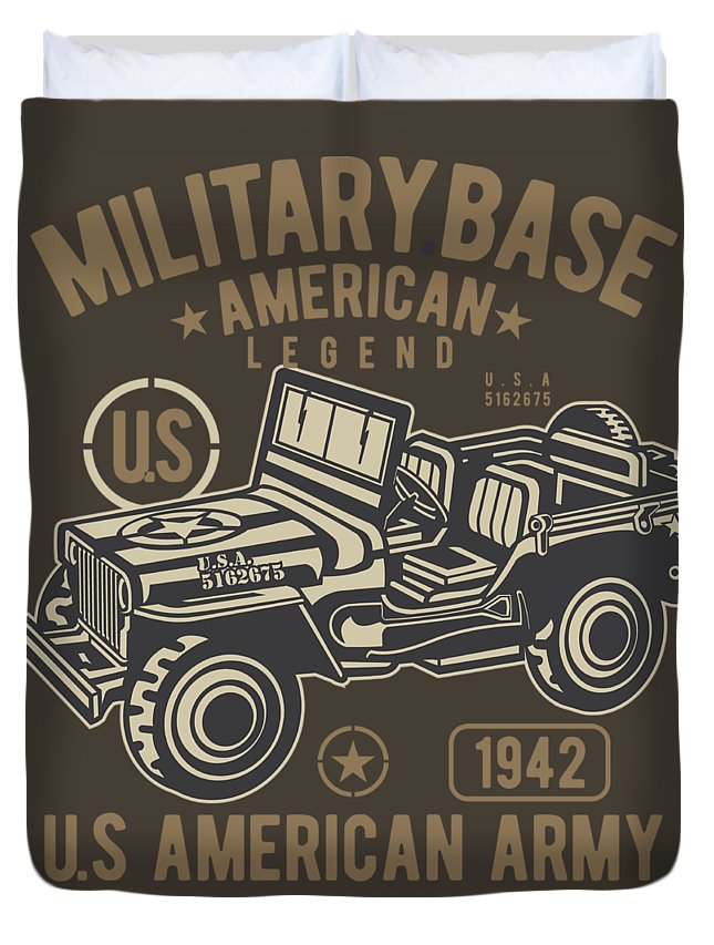 Jeep Duvet Cover featuring the digital art Us American Amry Jeep by Robinvd