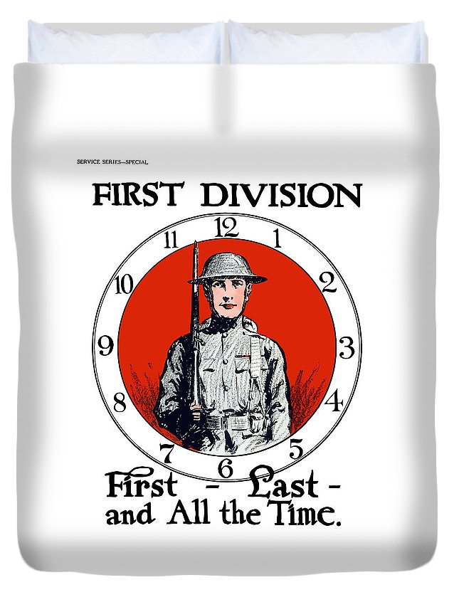 First Division Duvet Cover featuring the painting Us Army First Division - Ww1 by War Is Hell Store