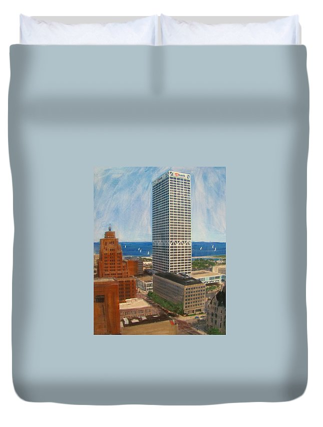 Milwaukee Duvet Cover featuring the mixed media Us Bank And Sailboats by Anita Burgermeister