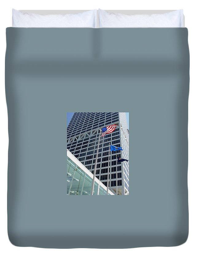 Us Bank Duvet Cover featuring the photograph Us Bank With Flags by Anita Burgermeister