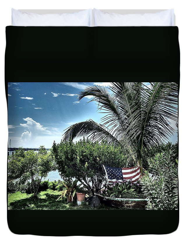 Amerian Flag Duvet Cover featuring the photograph US Flag in the Abaco Islands, Bahamas by Cindy Ross