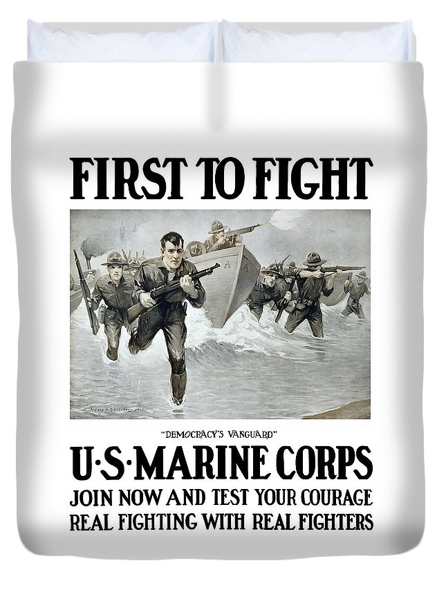 Marines Duvet Cover featuring the painting US Marine Corps - First To Fight by War Is Hell Store