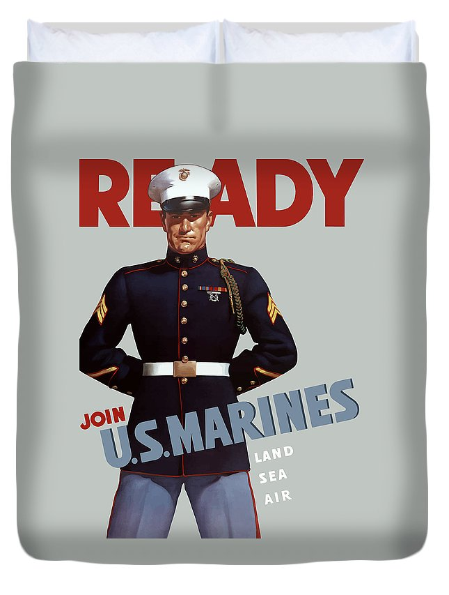 Marine Recruiting Duvet Cover featuring the painting Us Marines - Ready by War Is Hell Store