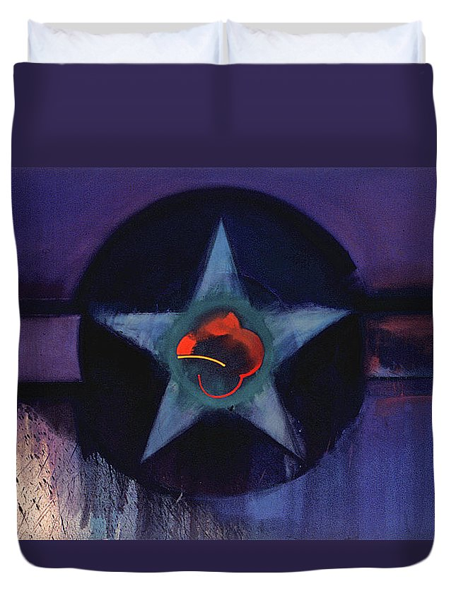 Usaaf Insignia Duvet Cover featuring the painting Usaaf Lilac by Charles Stuart