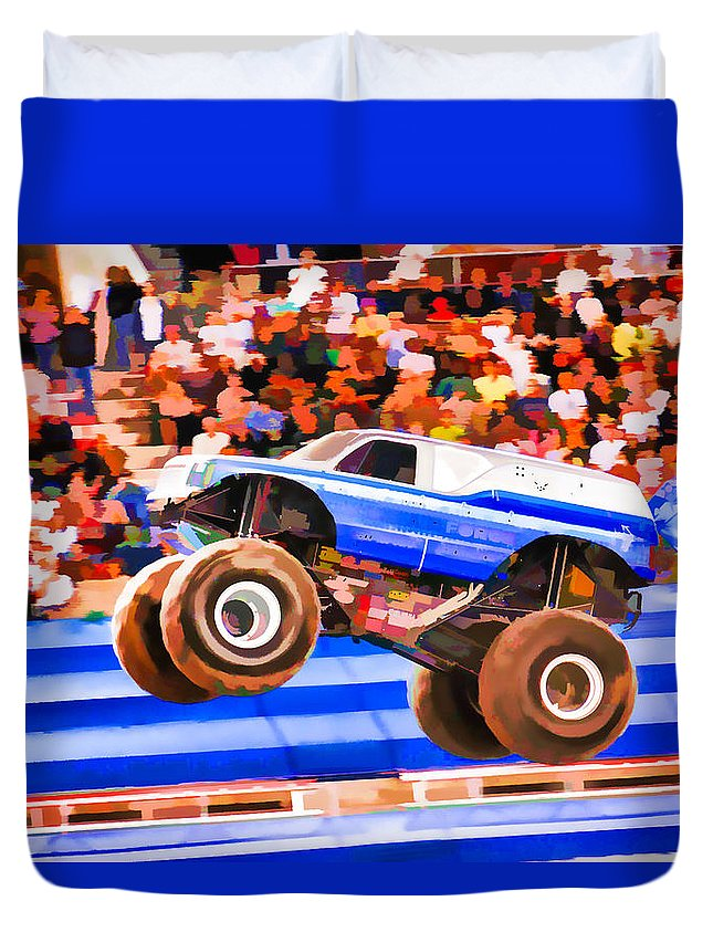Usaf Afterburner Monster Jam Duvet Cover featuring the painting Usaf Afterburner Monster Jam by Jeelan Clark