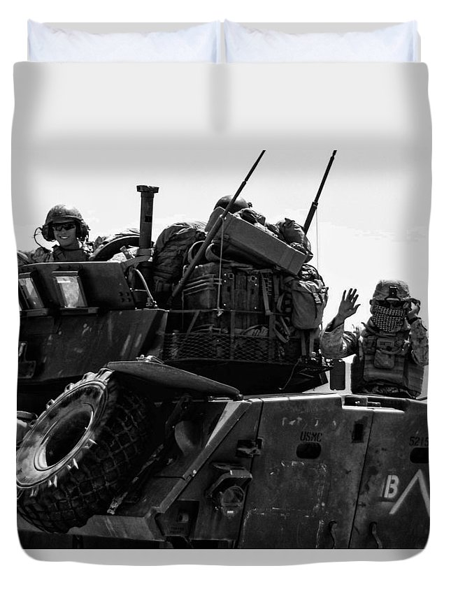 2014 Duvet Cover featuring the photograph Usmc On The Move In A Lav-25 by Tommy Anderson