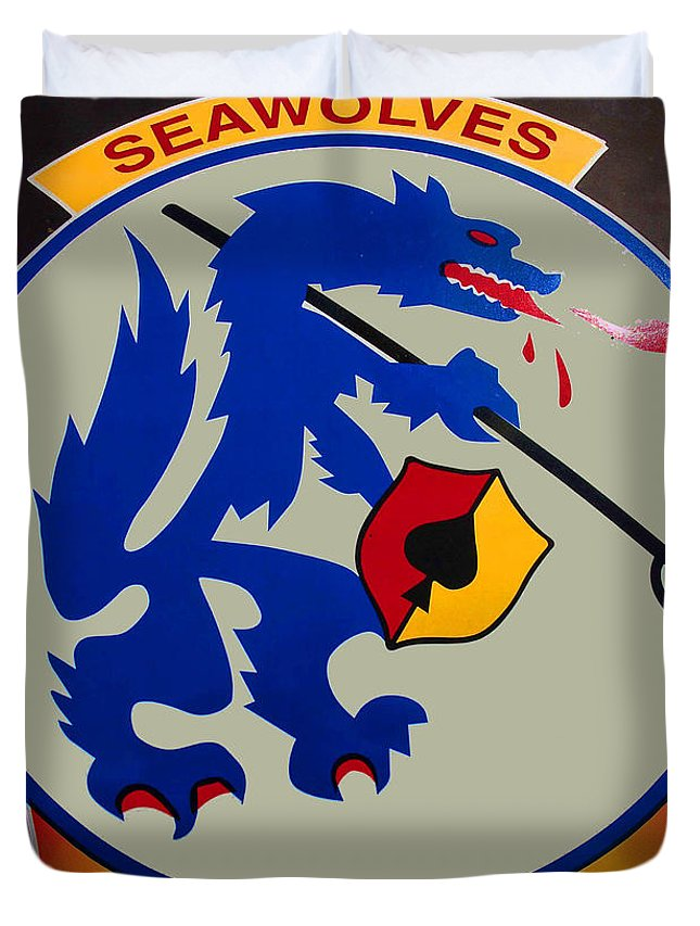 Usn Seawolves Duvet Cover featuring the photograph Usn Seawolves Logo by Tommy Anderson