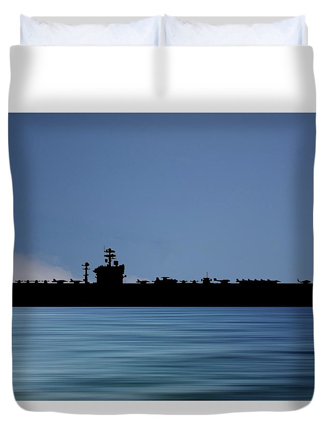 Uss Abraham Lincoln Duvet Cover featuring the photograph USS Abraham Lincoln 1988 v4 by Smart Aviation