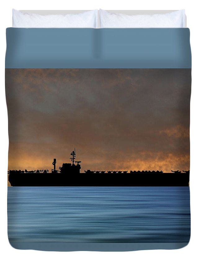 Uss Constellation Duvet Cover featuring the photograph Uss Constellation 1956 V3 by Smart Aviation