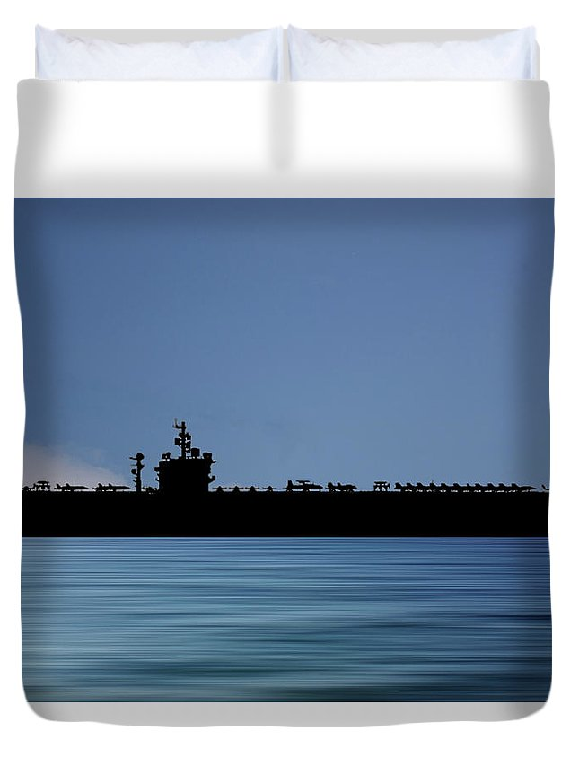 Uss Dwight D Eisenhower Duvet Cover featuring the photograph Uss Dwight D. Eisenhower 1977 V4 by Smart Aviation