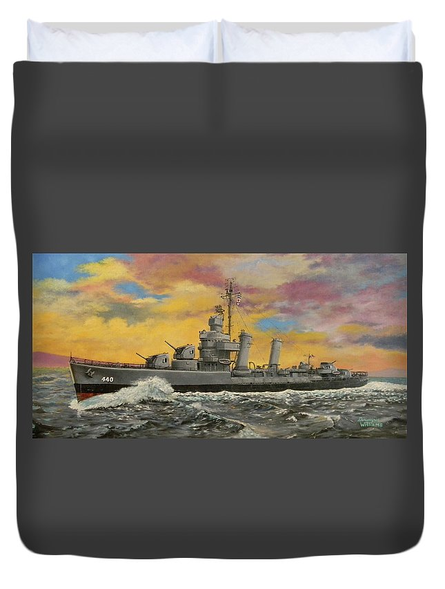 Destroyer Duvet Cover featuring the painting Uss Ericsson by Duwayne Williams