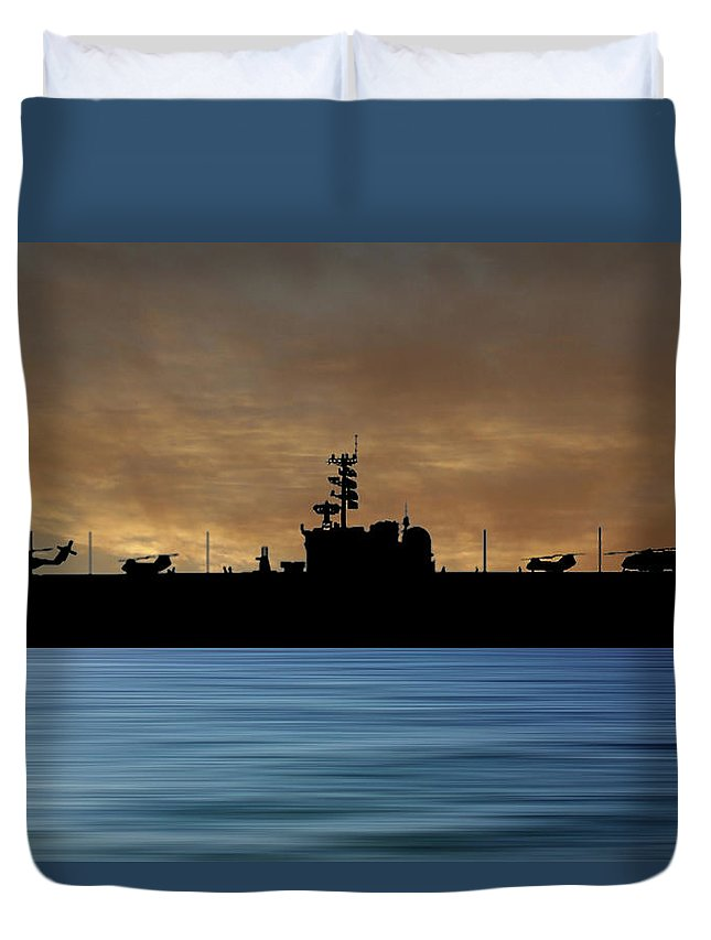 Uss Okinawa Duvet Cover featuring the photograph Uss Okinawa 1960 V2 by Smart Aviation