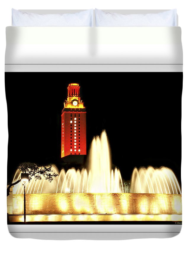 University Texas Austin Duvet Cover featuring the photograph Ut Tower Poster by Marilyn Hunt