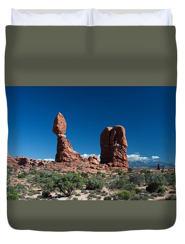 Duvet Cover featuring the photograph Balanced Rock by Ronnie Gilbert
