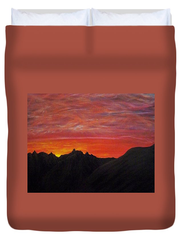 Sunset Duvet Cover featuring the painting Utah Sunset by Michael Cuozzo