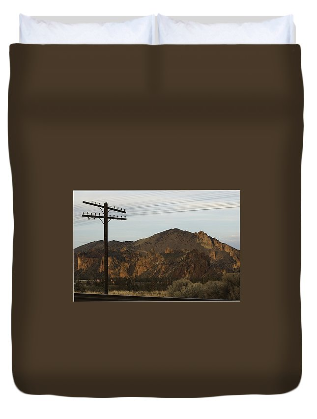 Smith Rock Duvet Cover featuring the photograph Utility Pole by Sara Stevenson