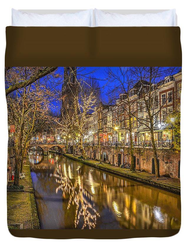 Utrecht Duvet Cover featuring the photograph Utrecht Old Canal By Night by Frans Blok