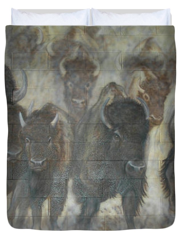 Duvet Cover featuring the painting Uttc Buffalo Mural Center Panel by Wayne Pruse