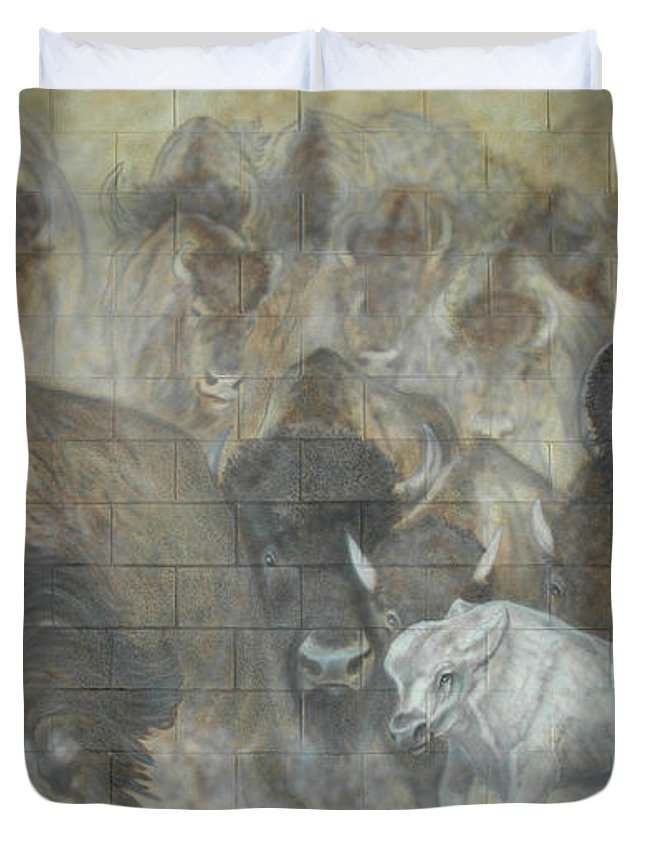 Duvet Cover featuring the painting Uttc - Buffalo Mural Left Panel by Wayne Pruse