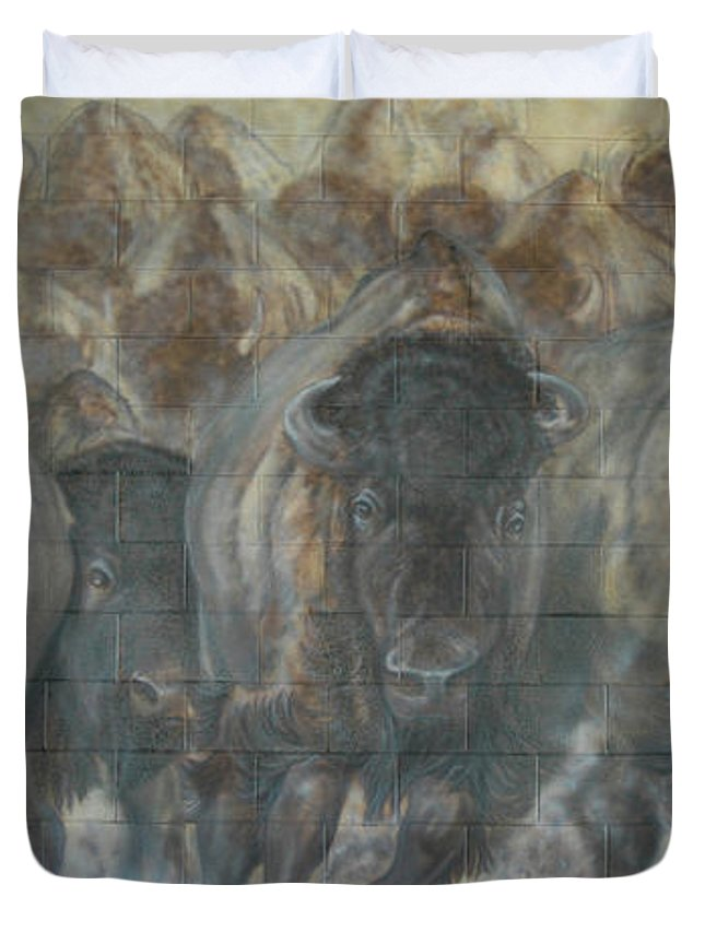 Duvet Cover featuring the painting Uttc Buffalo Mural Right Panel by Wayne Pruse