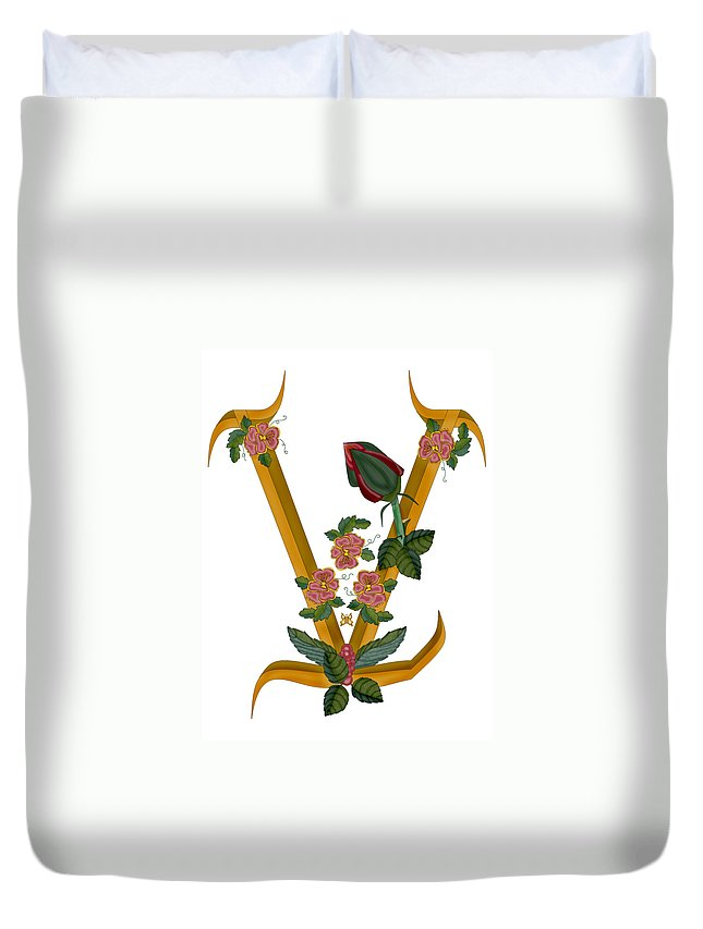 V Duvet Cover featuring the painting V Is For Vision by Anne Norskog