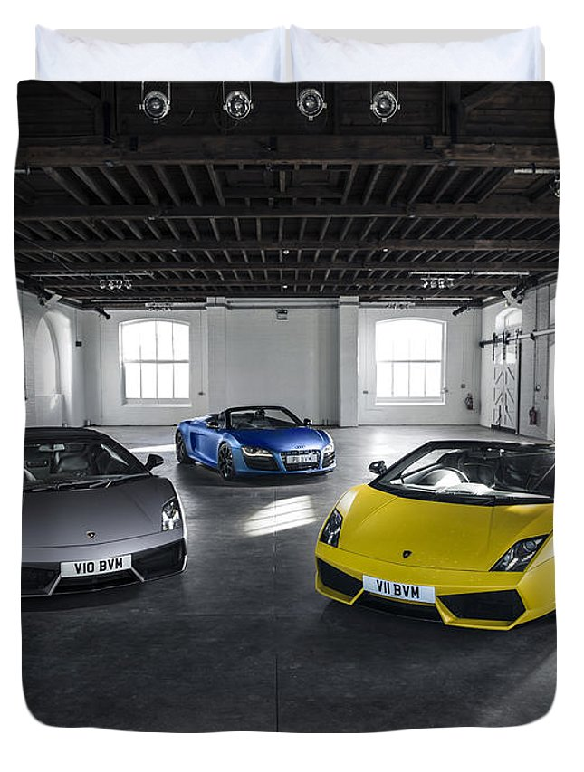 Lamborghini Duvet Cover featuring the photograph V10 Family by George Williams