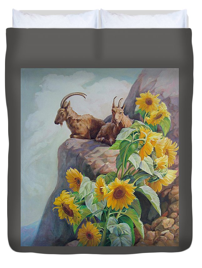 Goats Duvet Cover featuring the painting Vacation In The Rocky Mountains by Svitozar Nenyuk