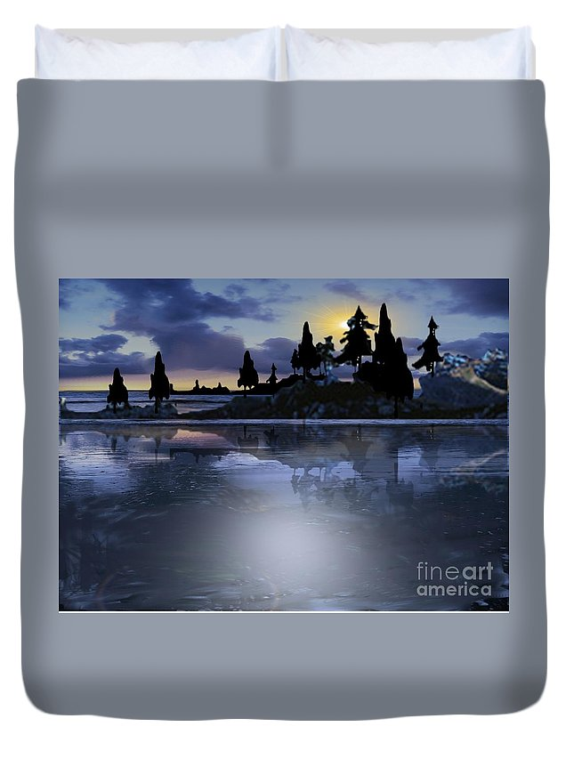 Lake Duvet Cover featuring the painting Vacation Paradise by Belinda Threeths