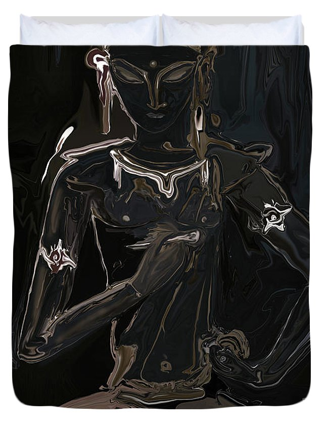 Vajrasattva Duvet Cover featuring the digital art Vajrasattva by Rabi Khan